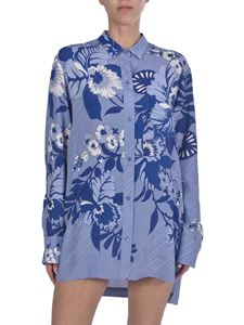 Etro - Long fit floral shirt in light blue