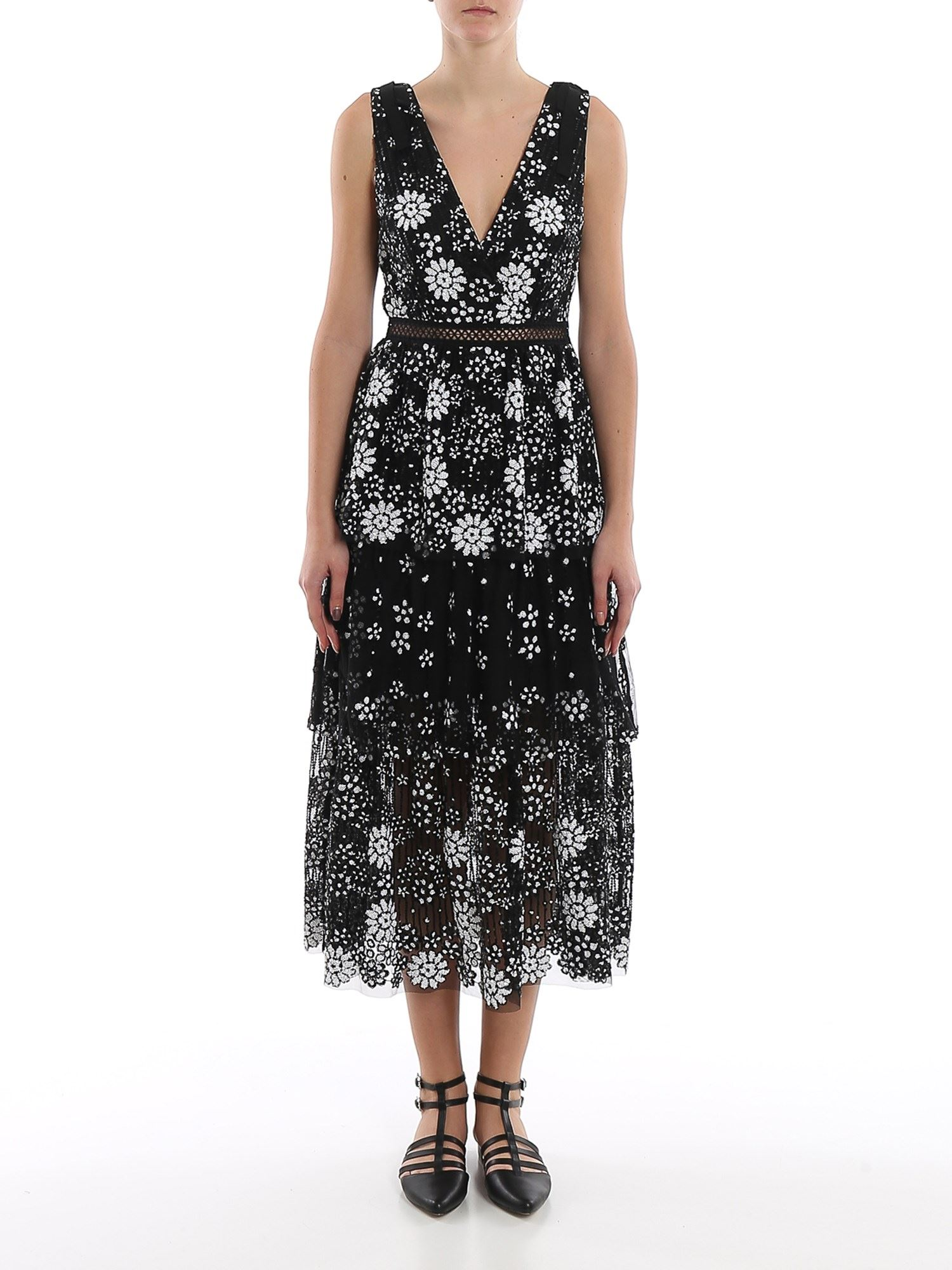 Self-Portrait MIDI DRESS IN EMBROIDERED TULLE