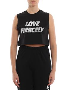Chiara Ferragni - Rhinestone Love Fiercely cropped tank top