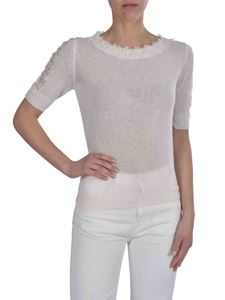 Ermanno Scervino - Short-sleeved pullover in white with lace