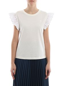 Philosophy di Lorenzo Serafini - Broderie anglaise ruches detailed T-shirt