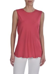 Theory - Curled hem top in fuchsia