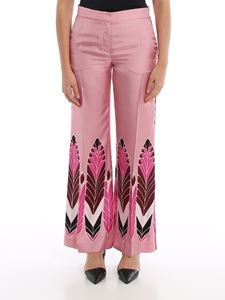 Valentino - Pop Feathers print silk trousers