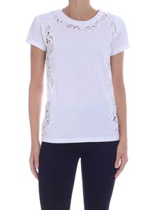 Parosh - T-shirt with tone-on-tone lace in white