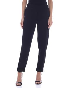 Parosh - Pants with turned-up bottom in black