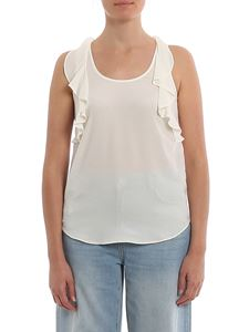 Twin-Set - Ruched silk blend top