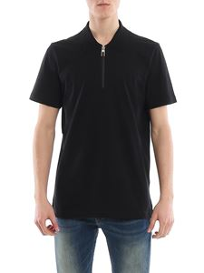 Canali - Jersey polo shirt with heat sealed zipper