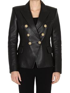 Balmain - Leather blazer with iconic buttons