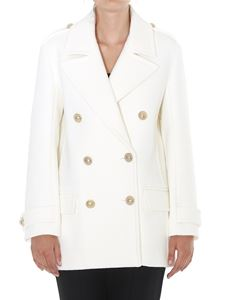 Balmain - White wool caban with golden buttons