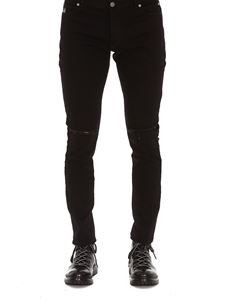 Balmain - Embroidered logo black slim jeans