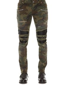 Balmain - Distressed effect camouflage jeans