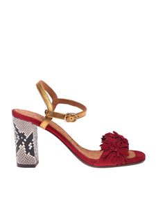 Chie Mihara - Balis sandals in red with reptile print heel