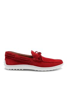 Tod's - Gommino bright red suede loafers