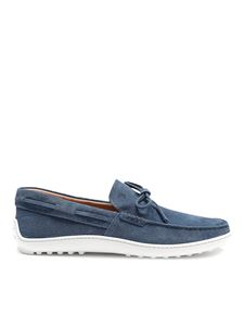 Tod's - Gommino sky blue suede loafers