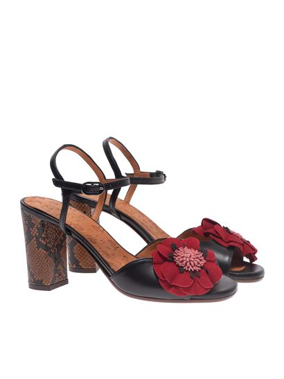 Chie Mihara - Betina sandals in black with red flower