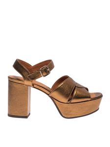 Chie Mihara - Dibe sandals in laminated oil blue bronze color