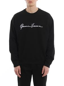 Versace - Flocked logo lettering cotton sweatshirt