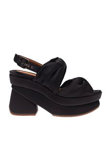 Chie Mihara - V Vrap sandals in black with wedge