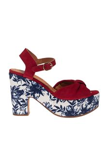 Chie Mihara - Yatel sandals in red with floral print