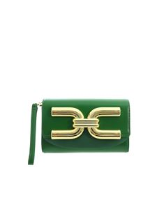 Elisabetta Franchi - Golden logo clutch bag in green