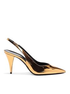 Saint Laurent - Kiki 85 laminated leather slingback in gold color