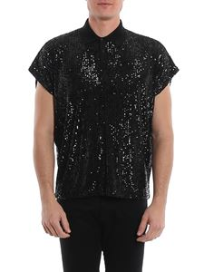 Saint Laurent - Sequins boxy polo shirt in black