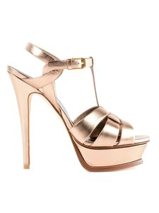 Saint Laurent - Tribute rose gold metallic leather sandals