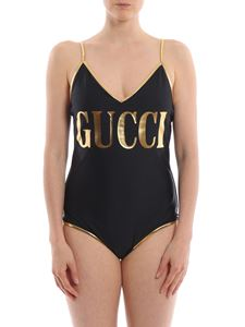 Gucci - Laminated piping black swimsuit