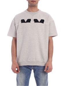 Maison Margiela - Black embroidered logo sweatshirt in grey