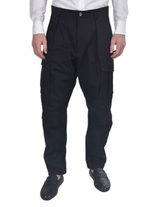 Les Hommes - High waist tapered pants in black