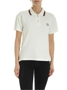 Gucci - Polo bianca con patch logo