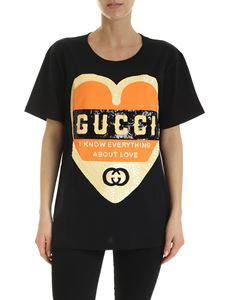 Gucci - Sequined Love logo T-shirt in black