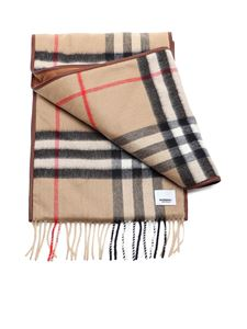 Burberry - Vintage check leather trimmed scarf