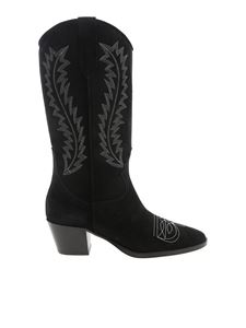 Paris Texas - Chunky heel texan boots in black