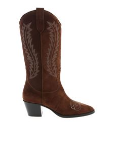 Paris Texas - Chunky heel texan boots in brown