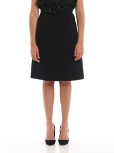 Gucci - GG belt wool and silk flared skirt in black