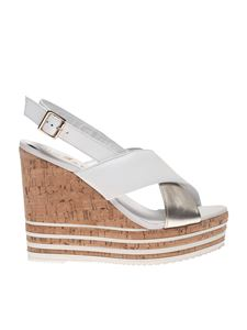 Hogan - Wedge sandals in white and platinum leather