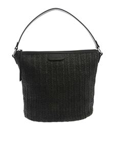 Lancaster Paris - Raffia effect handbag in black