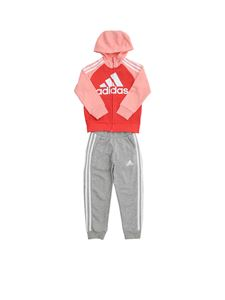 Adidas - Completo French Terry rosa, grigio e color corallo