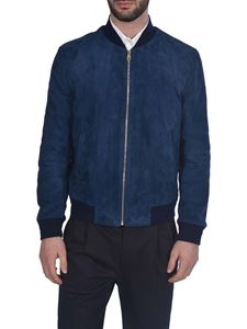 Paul Smith - Suede jacket with elastic edges in blue