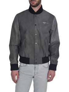Off-White - Airport Tape Varsity bomber jacket in faded black