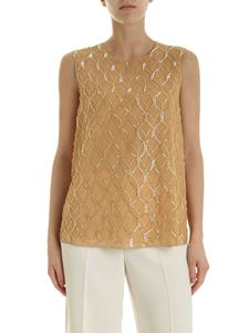 Max Mara - Nogara top in camel color with beaded details