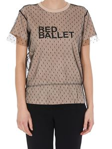 Red Valentino - T-shirt con strato in tulle point d'esprit