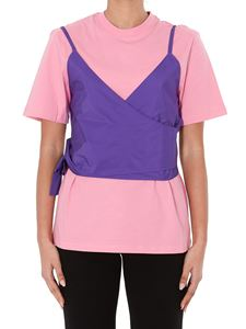 MSGM - T-shirt rosa in jersey con gilet removibile