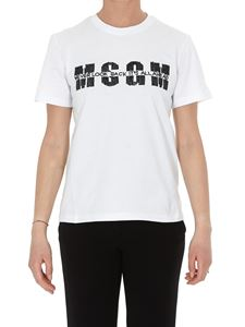 MSGM - T-shirt bianca con logo in paillettes