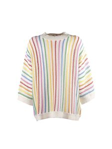 Stella McCartney Kids - White sweater with multicolor stripes