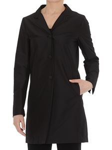 Herno - Tech fabric coat in black