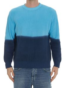 MSGM - Two-tone faded effect sweater in blue and light blue