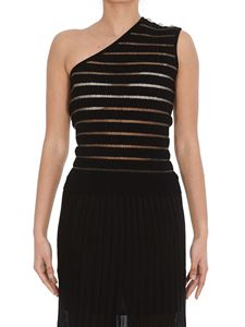 Balmain - Striped one-shouldered top in black