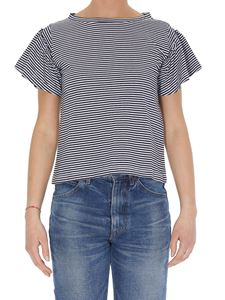 Dondup - Striped T-shirt with frilled sleeves in blu